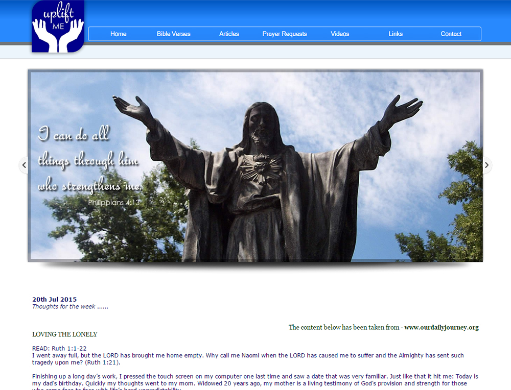 Uplift Me Christ. Christian Community Website