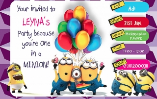 Chirldrens Minion Birthday Invitation (printed)