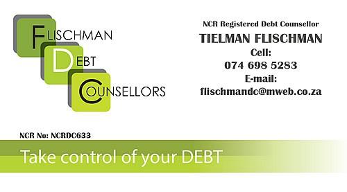 Tielman Flischman Debt Counsellors Business Card