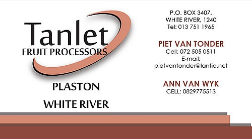 Tanlet Fruit Processors Business Card