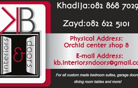 KB Doors & Interiors Business CArd